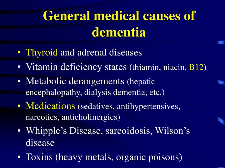 General medical causes of dementia