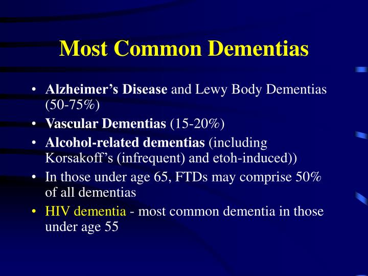 Most Common Dementias