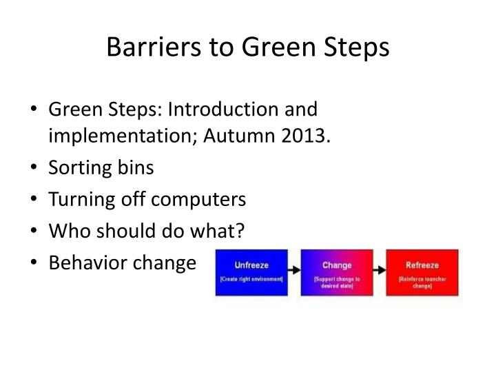 Barriers to Green Steps