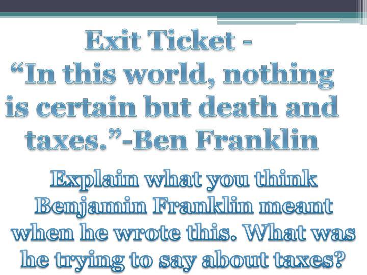 Exit Ticket -