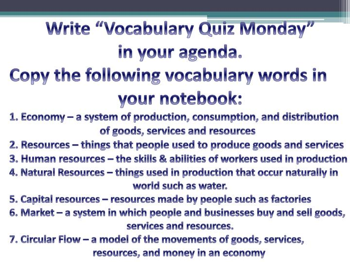 "Write ""Vocabulary Quiz Monday"""