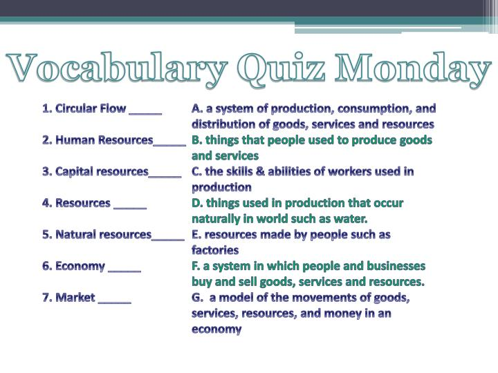 Vocabulary Quiz Monday