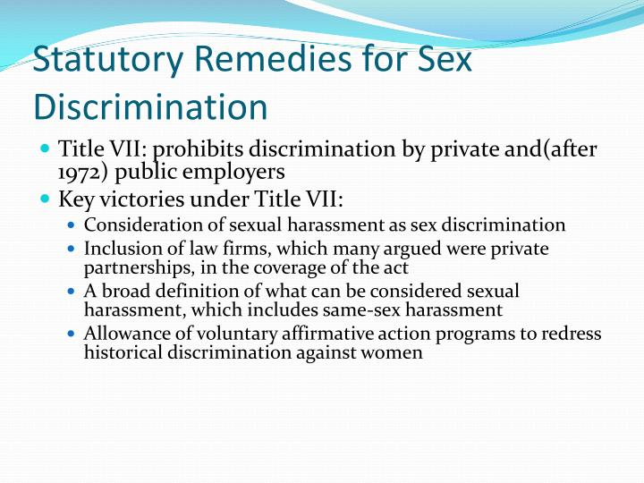 Statutory Remedies for Sex Discrimination
