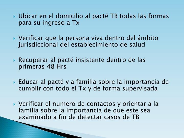 Ubicar en el domicilio al pacté TB todas las formas para su ingreso a Tx