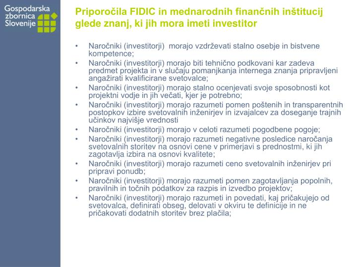 Priporočila FIDIC in mednarodnih finančnih inštitucij glede znanj, ki jih mora imeti investitor