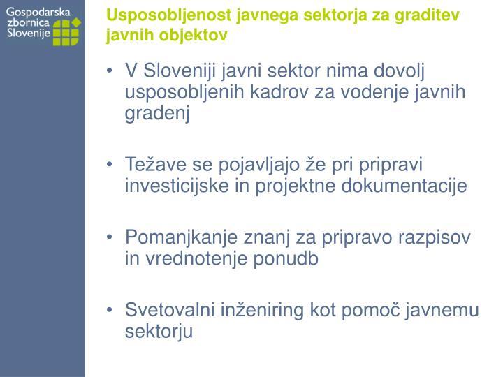 Usposobljenost javnega sektorja za graditev javnih objektov