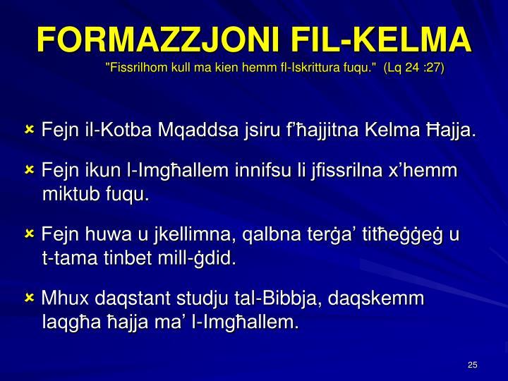 FORMAZZJONI FIL-KELMA