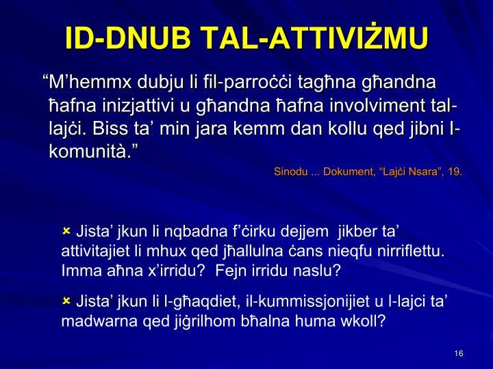 ID-DNUB TAL-ATTIVIŻMU