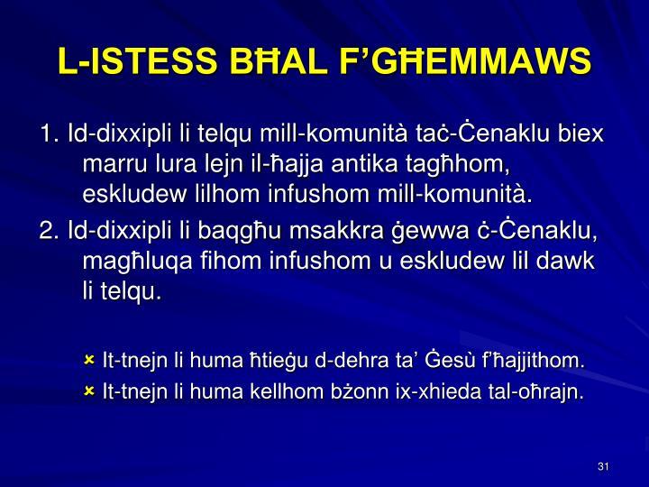 L-ISTESS BĦAL F'GĦEMMAWS