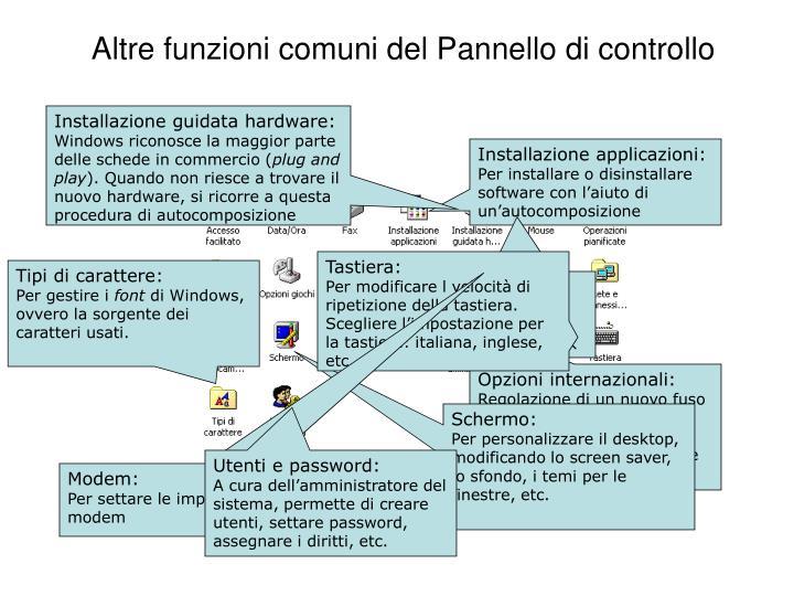 Altre funzioni comuni del Pannello di controllo