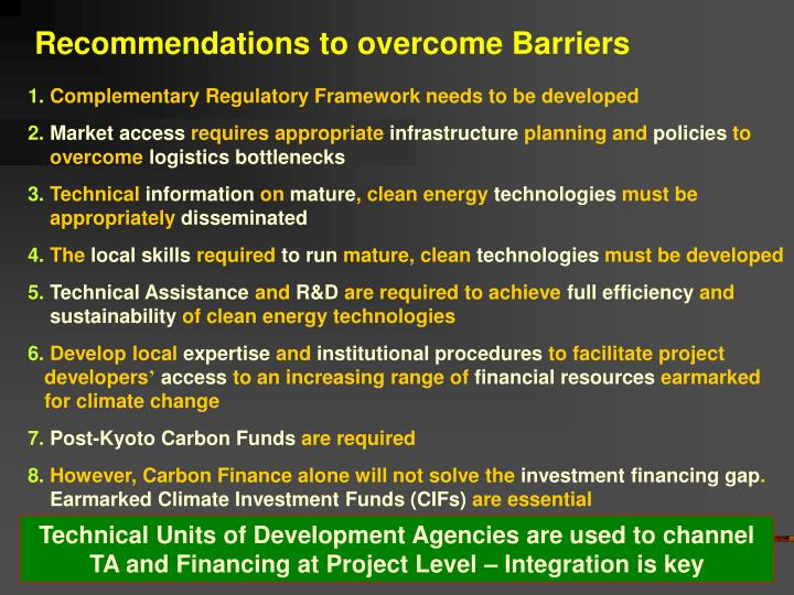 Recommendations to overcome Barriers
