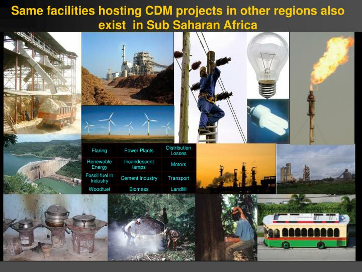 Same facilities hosting CDM projects in other regions also exist  in Sub Saharan Africa