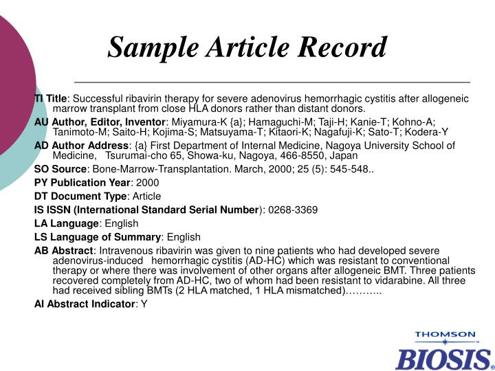 Sample Article Record