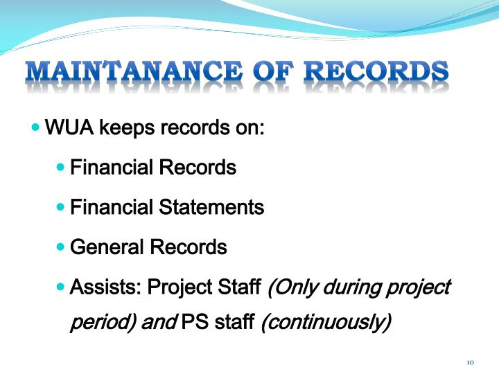 MAINTANANCE OF RECORDS