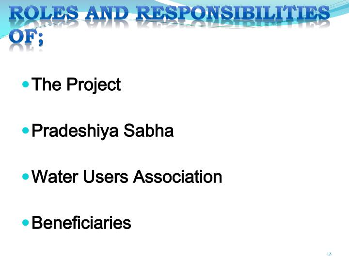 ROLES AND RESPONSIBILITIES OF;