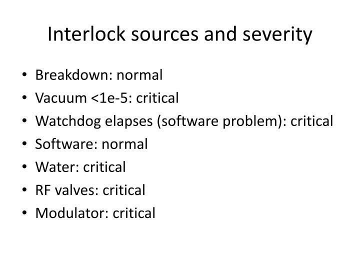 Interlock sources and severity