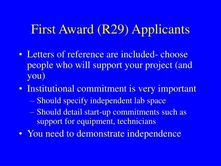 First Award (R29) Applicants