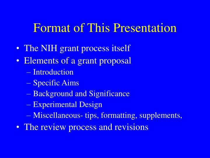 Format of This Presentation