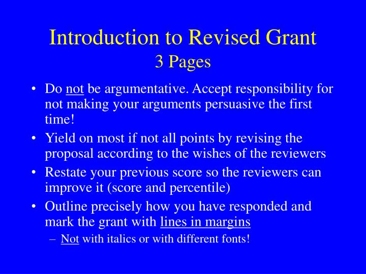 Introduction to Revised Grant