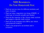 nih resources do your homework first
