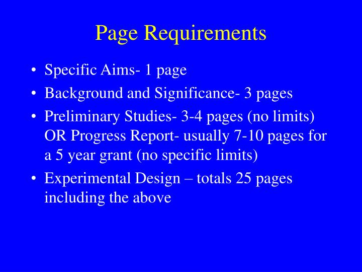 Page Requirements