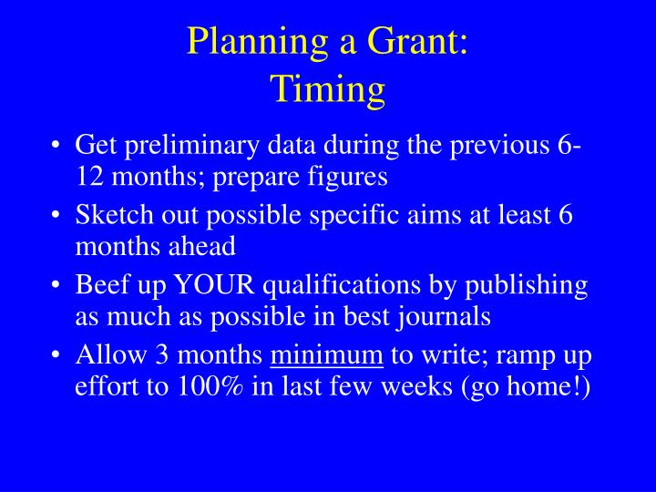 Planning a Grant: