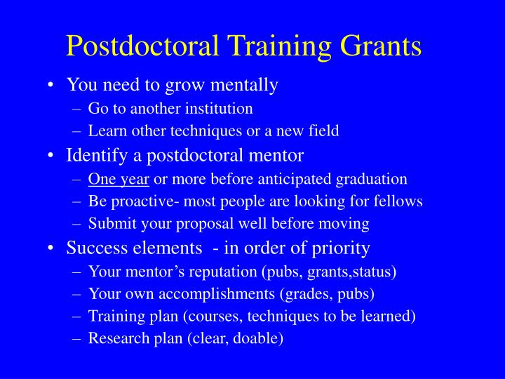 Postdoctoral Training Grants