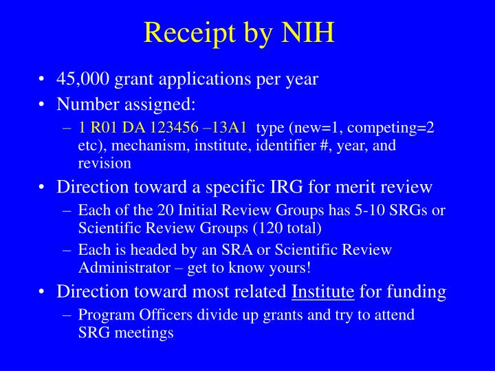 Receipt by NIH