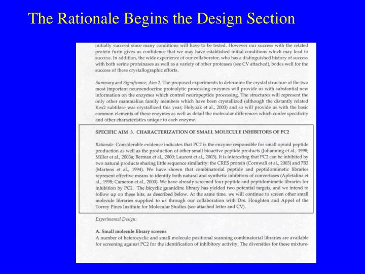 The Rationale Begins the Design Section