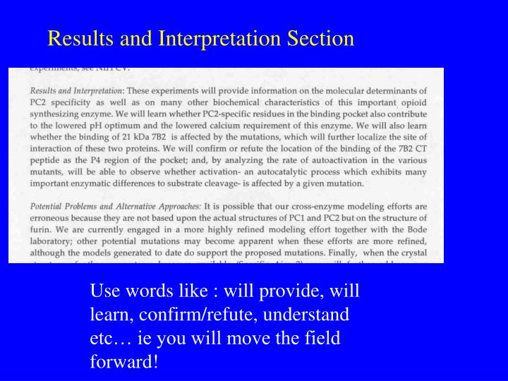 Results and Interpretation Section