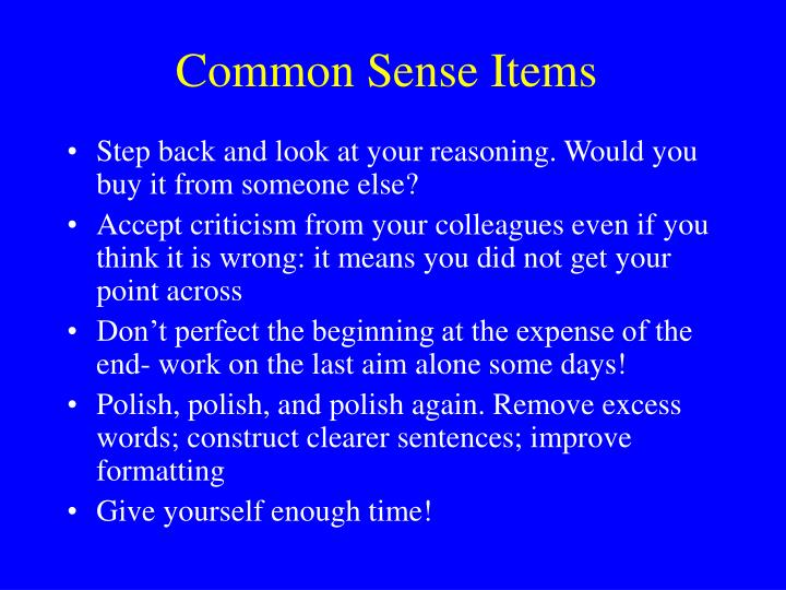 Common Sense Items