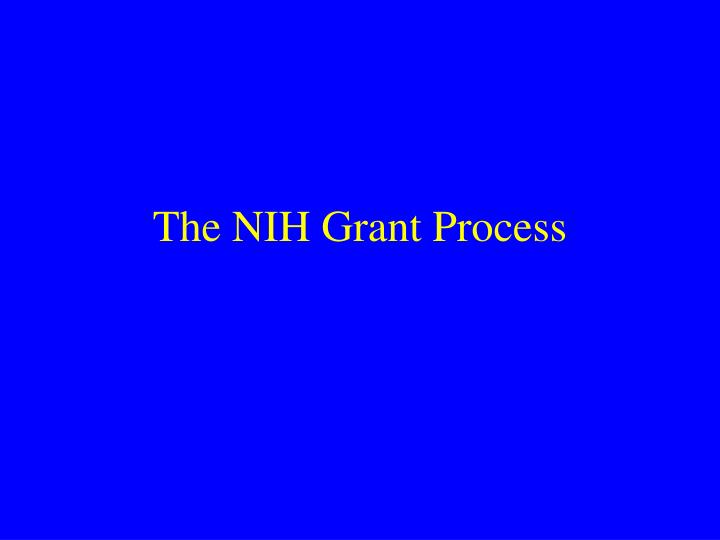 The NIH Grant Process