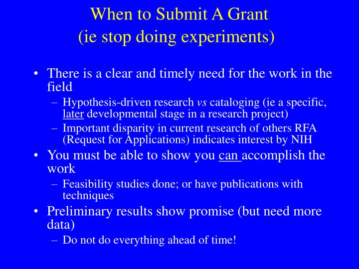 When to Submit A Grant