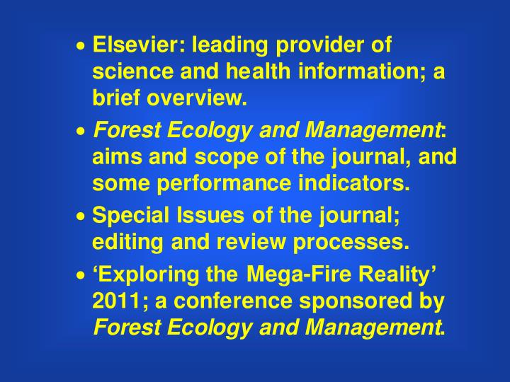 Scientific publishing introduction to forest ecology and management an elsevier journal