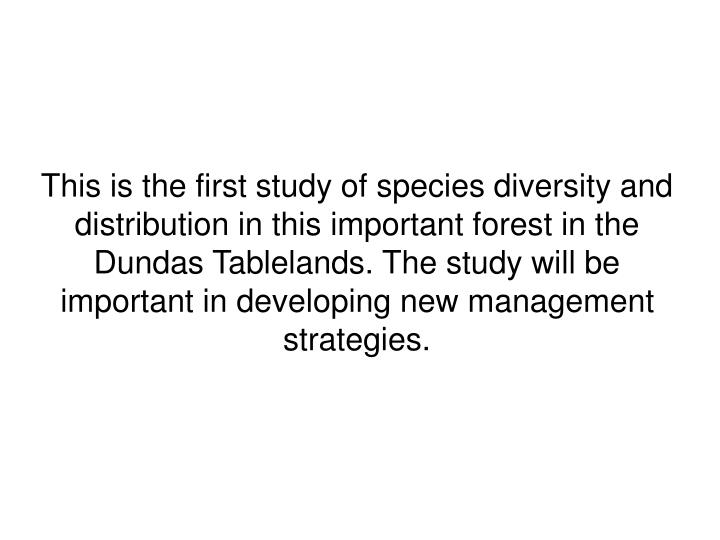 This is the first study of species diversity and