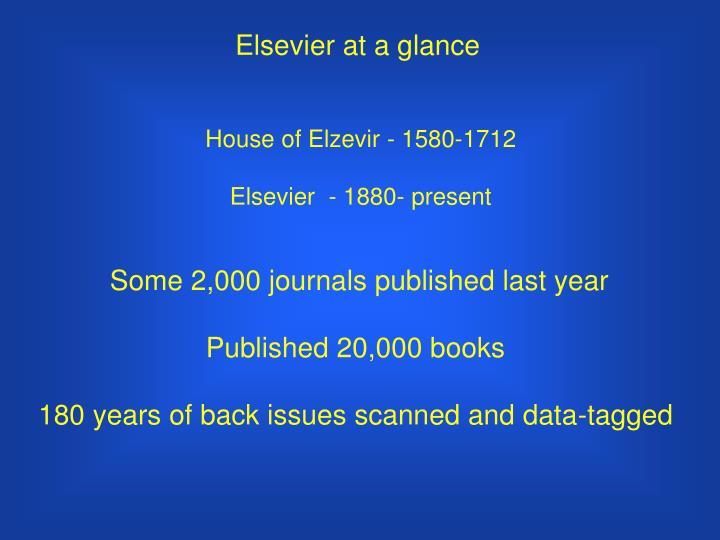 Elsevier at a glance