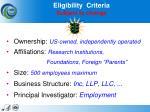 eligibility criteria subject to change