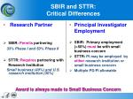 sbir and sttr critical differences