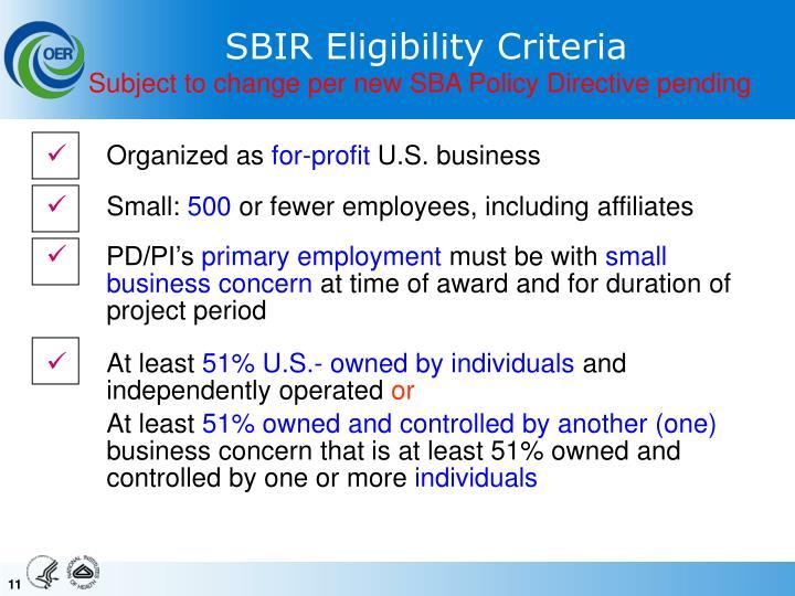 SBIR Eligibility