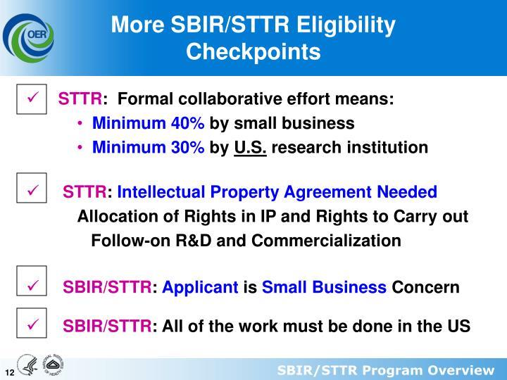 More SBIR/STTR Eligibility