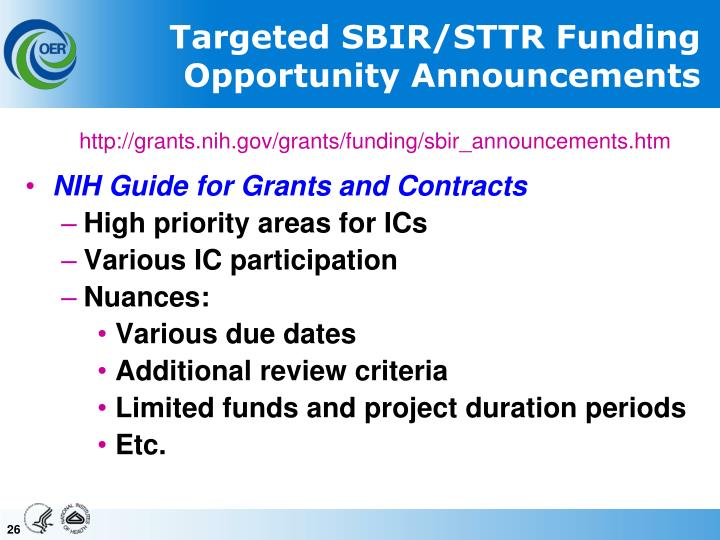 Targeted SBIR/STTR Funding Opportunity Announcements