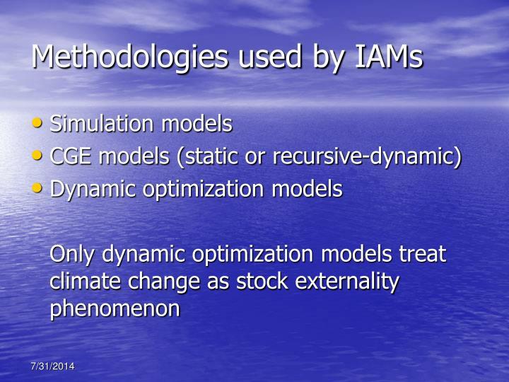 Methodologies used by IAMs