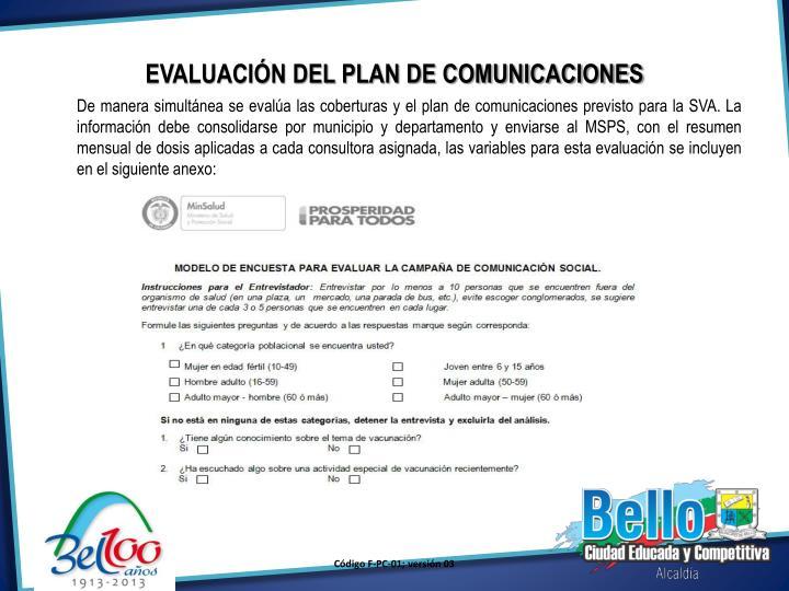 EVALUACIÓN DEL PLAN DE COMUNICACIONES