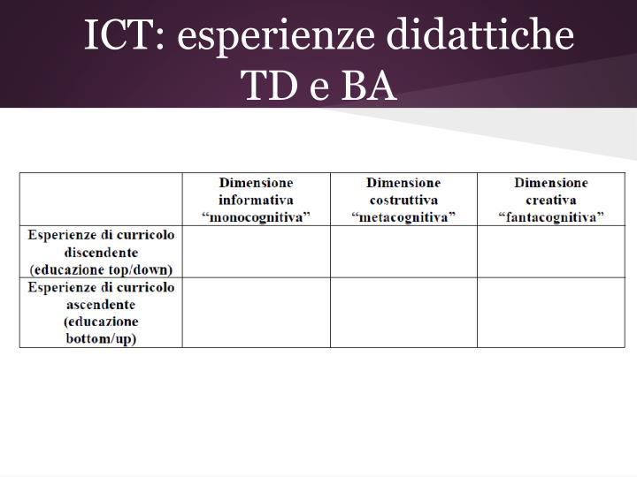 ICT: esperienze didattiche TD e BA