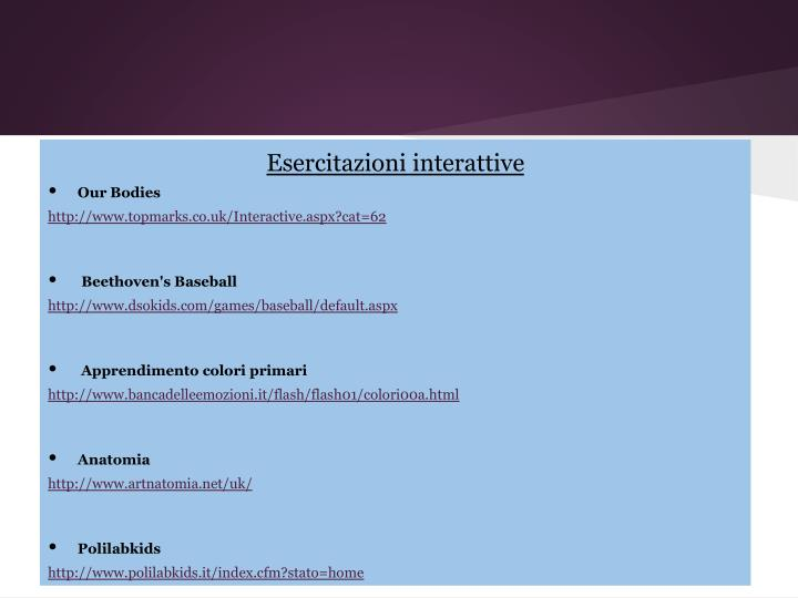 Esercitazioni interattive