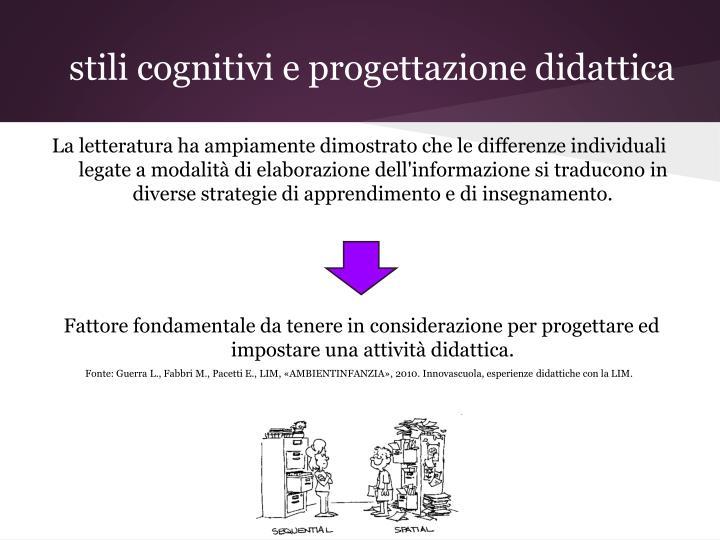 stili cognitivi e progettazione didattica