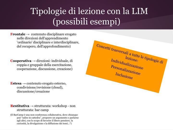 Tipologie di lezione con la LIM