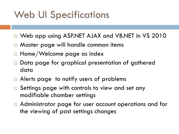 Web UI Specifications