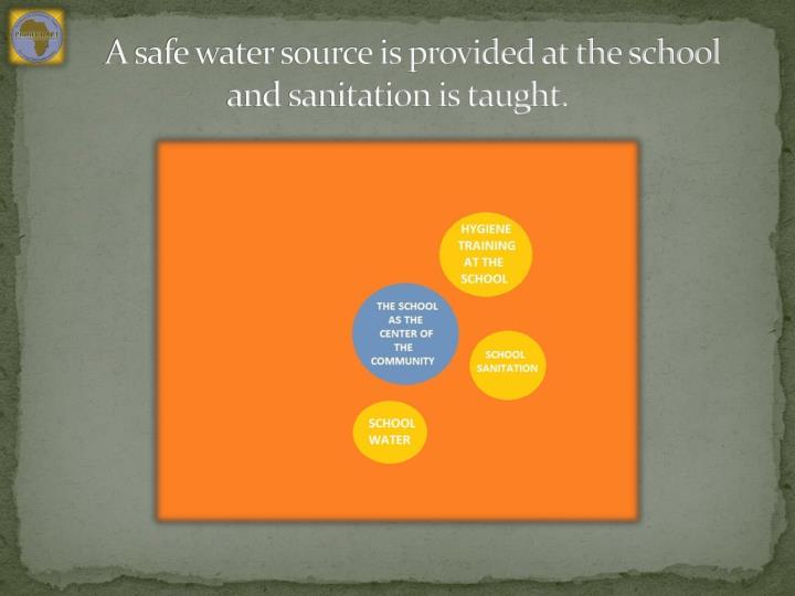 A safe water source is provided at the school and sanitation is taught.