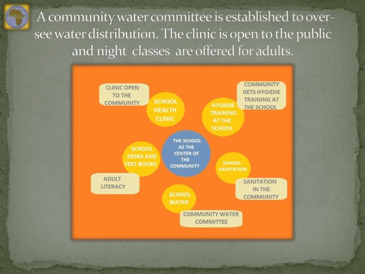 A community water committee is established to over-see water distribution. The clinic is open to the public and night  classes  are offered for adults.